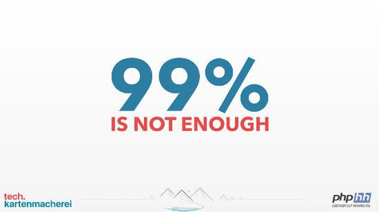 First slide of Sebastian Thoss presentation 99 percent is not enough