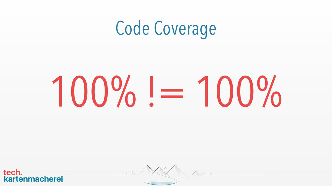 Slide which is showing that 100% coverage by unit tests means not real 100%