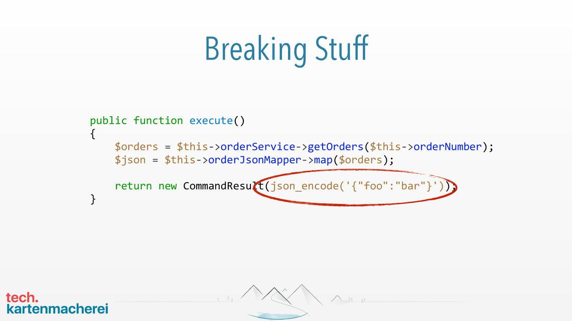 Die vierte Folie des Beispiels zeigt, wie änderungen den Code zerstören können