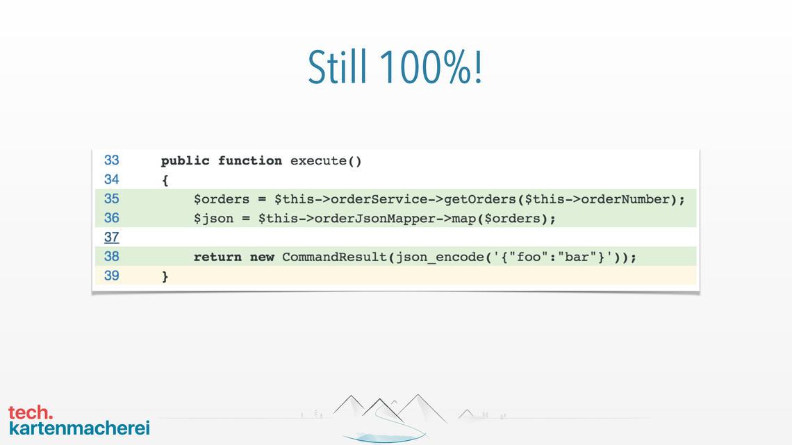 Die fünfte Folie des Beispiels zeigt, dass es weiterhin 100% Code Coverage sind