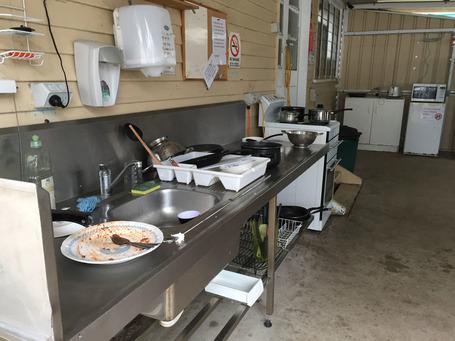 Eine ziemlich verdreckte Küche
