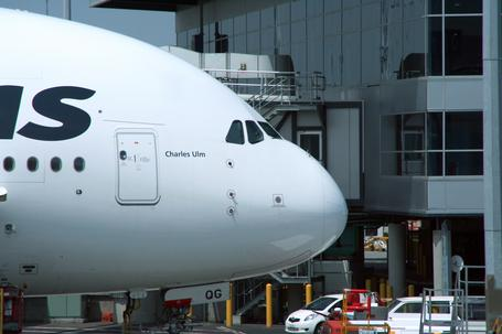 Die Nase eines Airbus A380 der Airline Qantas parkend an einem Gate