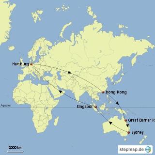 Unsere Reiseroute auf einer Map