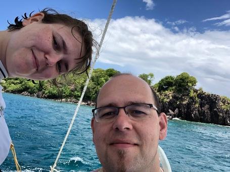 Steffi und Sebastian auf dem Banka Boat for Apo Island