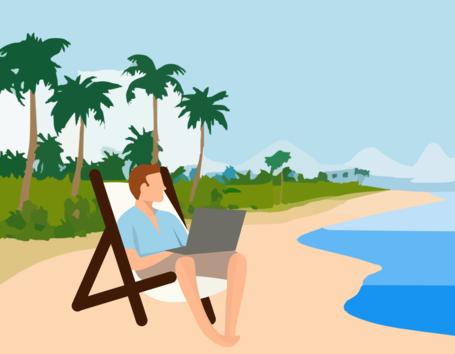 Eine Zeichnung auf dem ein Mann auf einem Liegestuhl am Strand mit einem Laptop arbeitet.