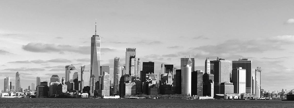 Die Skyline von Downtown Manhattan in schwarz weiss am fruehen Vormittag
