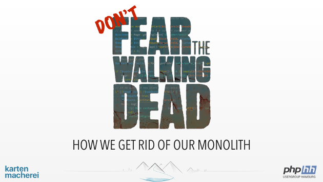 First slide of presentation with big letters Don't fear the walking dead