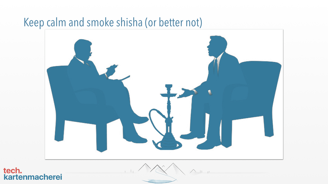 With this slide Sebastian Thoss shows the fun fact the you should not smoke shisha during job interview