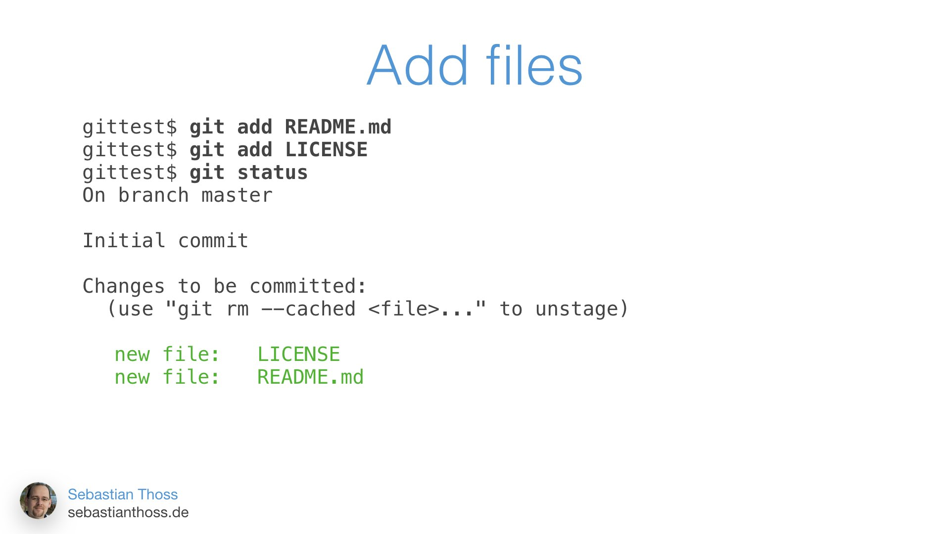 This slide shows how to add a file to git repository