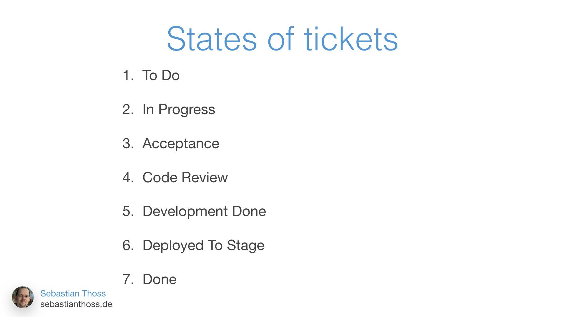Mit dieser Folie zeigt Sebastian Thoss welche Status es in einem Ticket System mit git Integration geben sollte