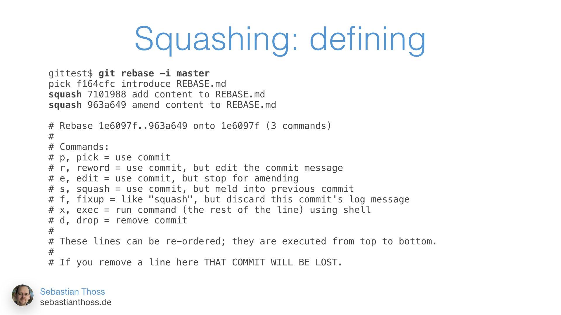 Mit dieser Folie zeigt Sebastian Thoss wie squashing auf der Kommandozeile aussehen kann