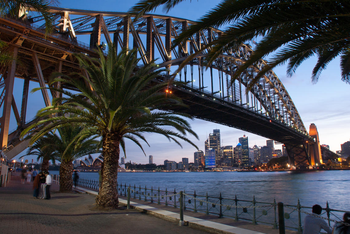 Sydney Harbour Bridge and Opera at sunset