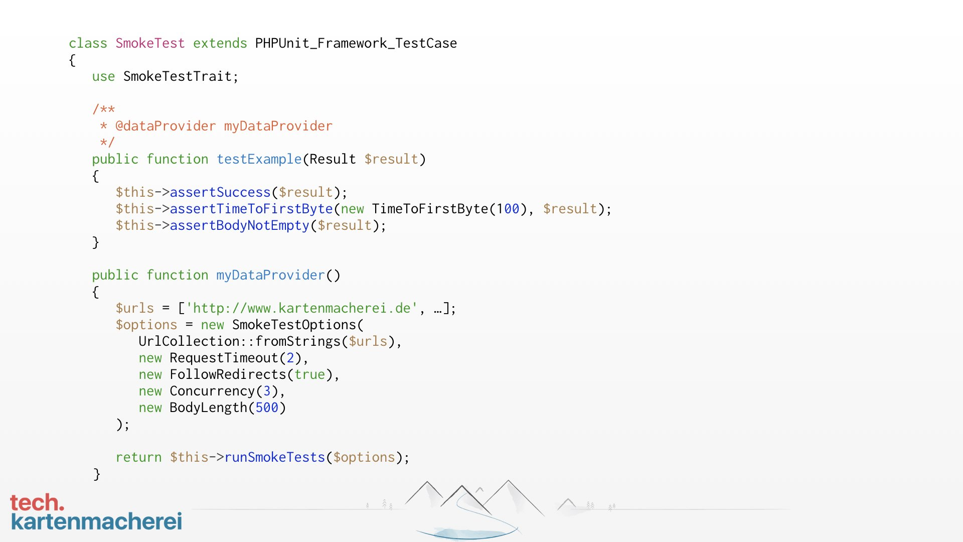 Anhand dieser Folie erklärt Sebastian Thoss wie der Beispielcode funktioniert